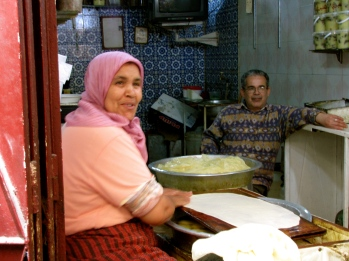 The pastry lady and her man in the souk in Fes